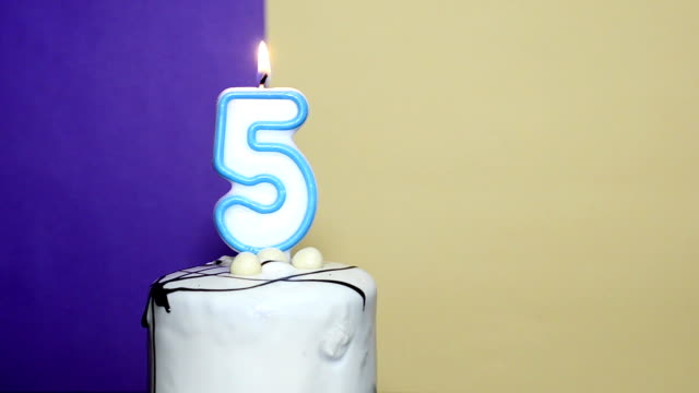 number 5 - five birthday candle burning - number 5 stock videos & royalty-free footage
