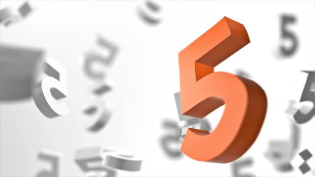 vidéos et rushes de numéro 5 en boucle à fond - chiffre 5