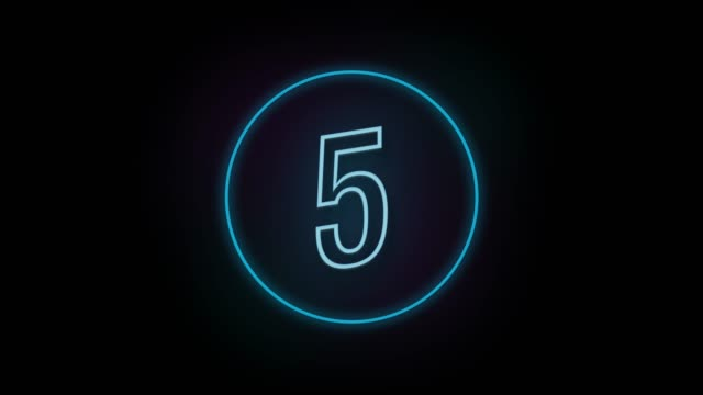 4k number 5 neon sign style flashing. number movement animation - number 5 stock videos & royalty-free footage