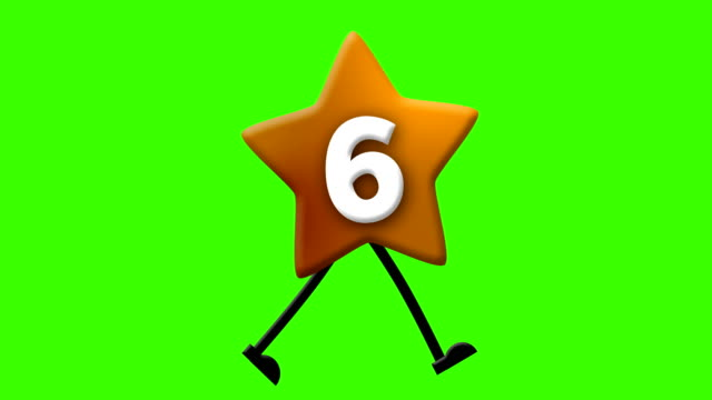number 6 in latin alphabet and walking character on greenscreen - number 6 stock videos & royalty-free footage