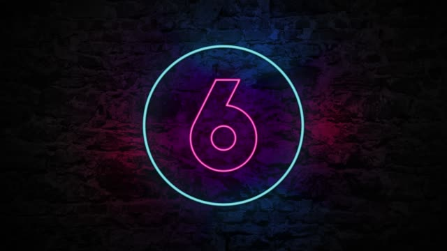 number 6 neon sign on brick background 4k animation - number 6 stock videos & royalty-free footage