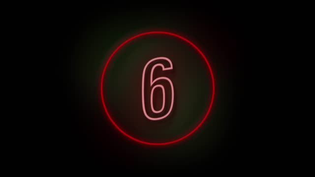 4k number 6 neon sign style flashing. number movement animation - number 6 stock videos & royalty-free footage