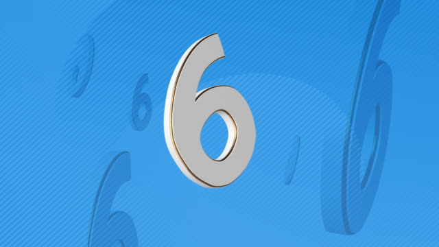 number 6, number six - 3d illustration - number 6 stock videos & royalty-free footage