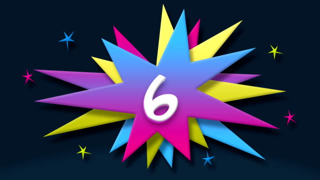 Number 6 - Text in Speech Balloon with Colorful Stars