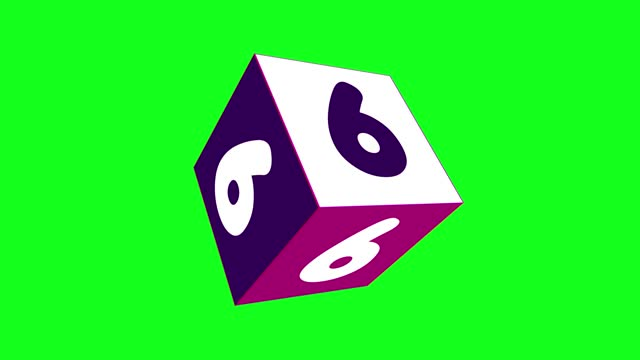 4k number 6 with 3d rotating cube. number movement animation. green screen background. loopable - number 6 stock videos & royalty-free footage