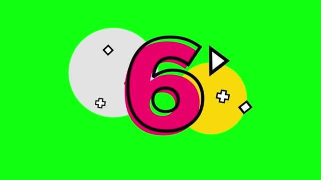 4k number 6 with small shapes. triangle, plus, circle, square. number movement animation loopable - number 6 stock videos & royalty-free footage