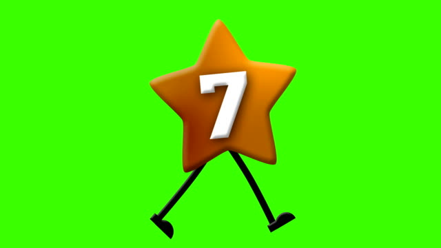 number 7 in latin alphabet and walking character on greenscreen - the alphabet stock videos & royalty-free footage