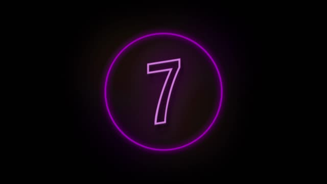 4k number 7 neon sign style flashing. number movement animation - number 7 stock videos & royalty-free footage