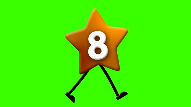 Number 8 in Latin alphabet and walking character on greenscreen