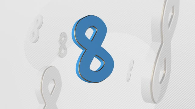 number 8, number eight- 3d illustration - number 8 stock videos & royalty-free footage