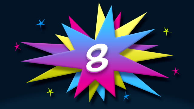 number 8 - text in speech balloon with colorful stars - numero 8 video stock e b–roll
