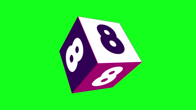 4k number 8 with 3d rotating cube. number movement animation. green screen background. loopable - number 8 stock videos & royalty-free footage