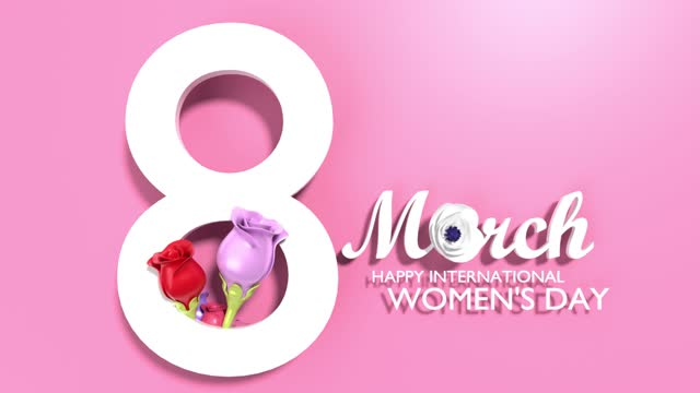 number 8 with happy women's day text and flowers to celebrate 8 march international women's day animation in 4k resolution - number 8 stock videos & royalty-free footage