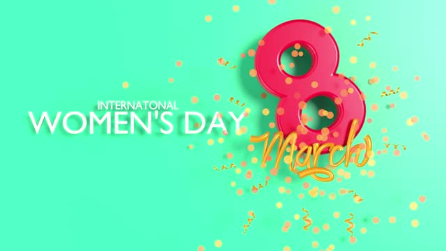 number 8 with ribbon text and confetti to celebrate 8 march international women's day animation in 4k resolution - number 8 stock videos & royalty-free footage