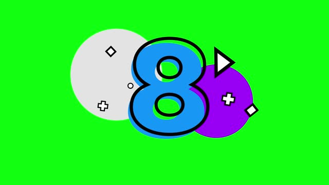 4k number 8 with small shapes. triangle, plus, circle, square. number movement animation loopable - number 8 stock videos & royalty-free footage