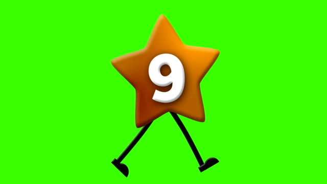 number 9 in latin alphabet and walking character on greenscreen - number 9 stock videos & royalty-free footage