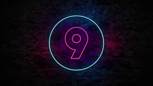 number 9 neon sign on brick background 4k animation - number 9 stock videos & royalty-free footage