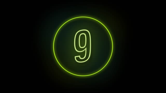 4k number 9 neon sign style flashing. number movement animation - number 9 stock videos & royalty-free footage