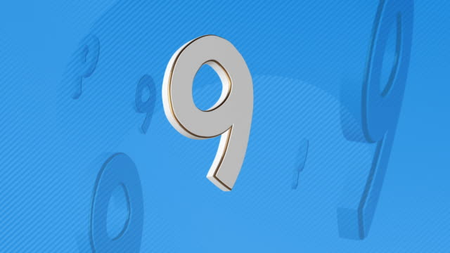 number 9, number nine - 3d illustration - number 9 stock videos & royalty-free footage