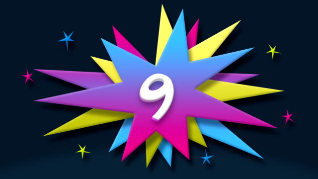 number 9 text in speech balloon with colorful stars - number 9 stock videos & royalty-free footage