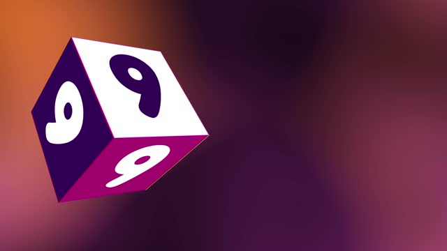 4k number 9 with 3d rotating cube. number movement animation loopable - number 9 stock videos & royalty-free footage