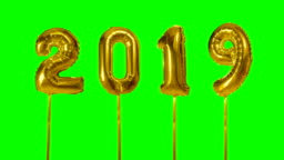 Number happy new year birthday anniversary celebration golden balloon floating on green screen background
