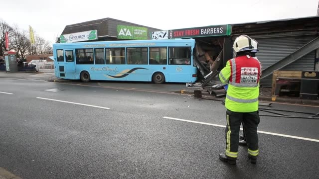 number of children have been injured when a school bus crashed into a barber's shop in sheffield. about 25 children were on board the single-decker... - handsworth stock videos & royalty-free footage