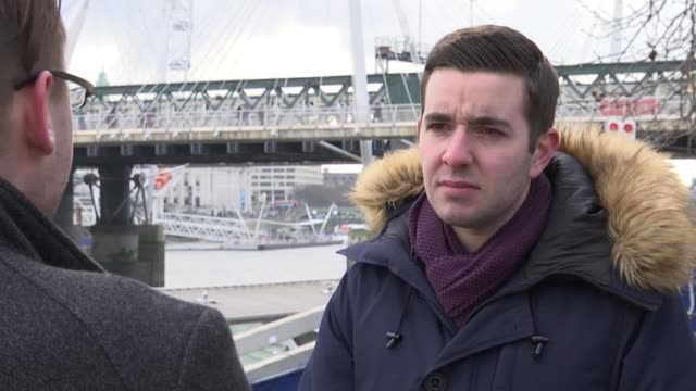 number of homophobic hate crimes in london has doubled england london embankment ext chris withers interview sot withers chatting to reporter... - ホモフォビア点の映像素材/bロール