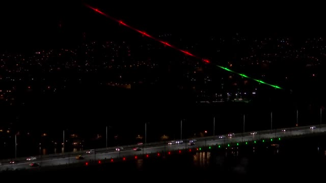 number of landmarks in istanbul, turkey's largest city, were illuminated in green and red monday to mark the 100th anniversary of afghanistan's... - yavuz sultan selim bridge stock videos & royalty-free footage