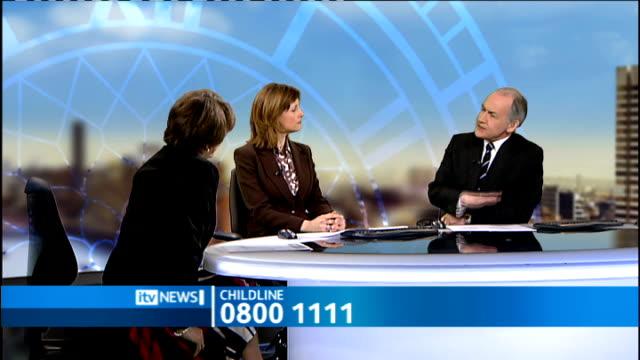 Number of suicidal children calling Childline has trebled since 2004 ENGLAND London GIR INT Esther Rantzen interview SOT