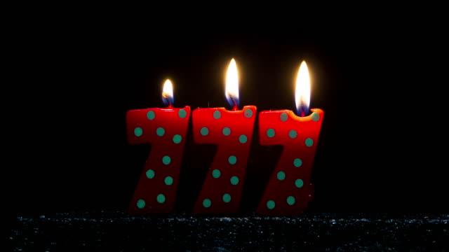 Number shaped Colorful Candle Burning
