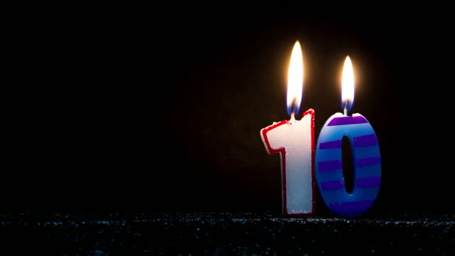 number shaped colorful candle burning - candeline di compleanno video stock e b–roll
