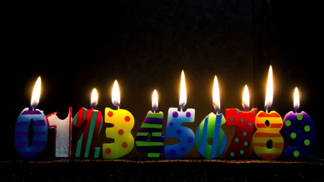 number shaped colorful candles burning - birthday candle stock videos & royalty-free footage