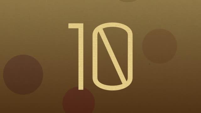 数字 10 アニメーション、イントロおよび countdowns - 茶色背景点の映像素材/bロール