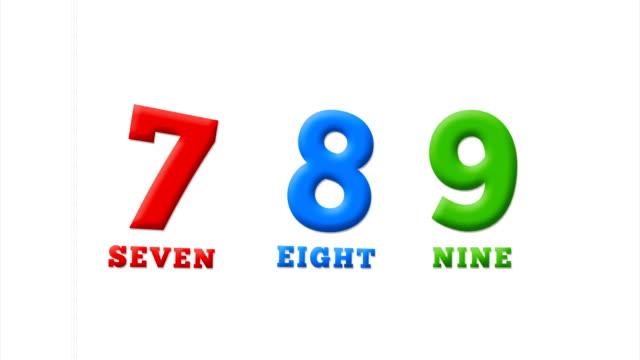 vídeos y material grabado en eventos de stock de números 7, 8, 9 en alfabeto latino en un cuaderno blanco - number 8