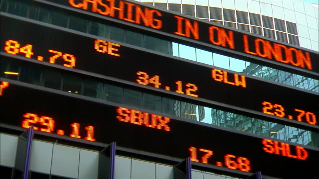 numbers and words move across the electronic stock ticker on 1585 broadway in new york city. - kurstafel stock-videos und b-roll-filmmaterial