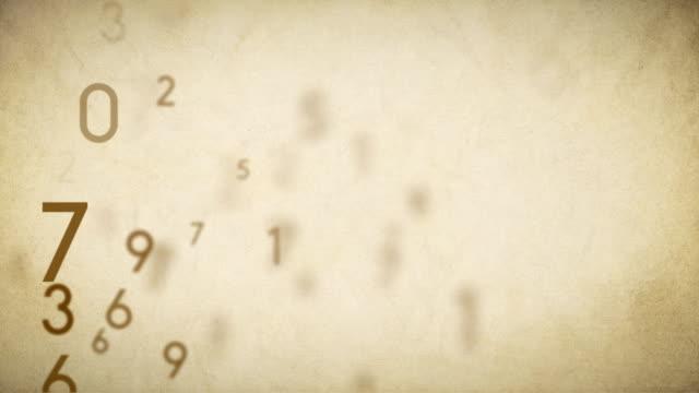 Numbers Background Loop Old Paper - Stock Video