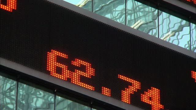 numbers move across the electronic stock ticker on 1585 broadway in new york city. - trading screen stock videos & royalty-free footage
