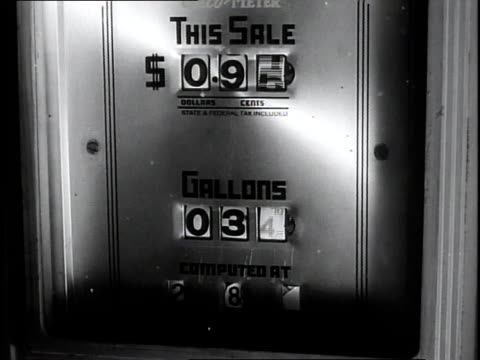 1950 cu numbers on sale and gallon meters on a fuel pump spinning and increasing / southville, kentucky, united states - petrol station stock videos & royalty-free footage