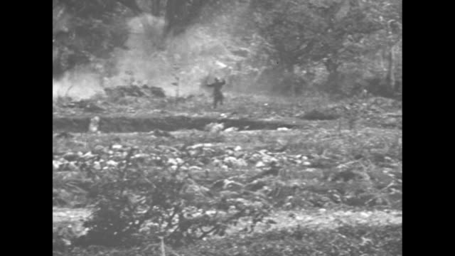 numerous bodies of dead japanese soldiers lying on ground, us marines looking at them / explosion at bottom of cliff / marine throwing hand grenade... - hand grenade stock videos & royalty-free footage