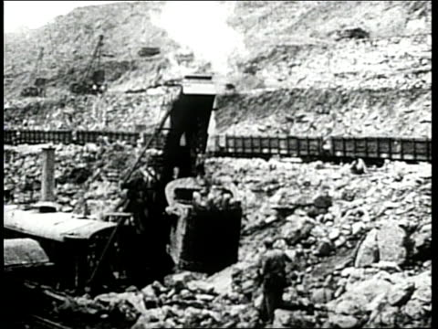 numerous construction workers help build the panama canal - panama canal stock videos & royalty-free footage