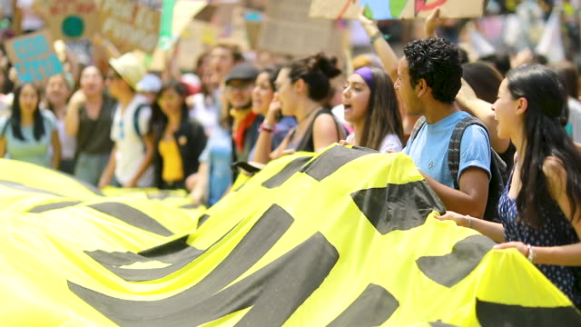 numerous people take part in a demonstration on september 20 2019 in mexico city mexico strikes are being held all around the world to protest... - strike protest action stock videos and b-roll footage
