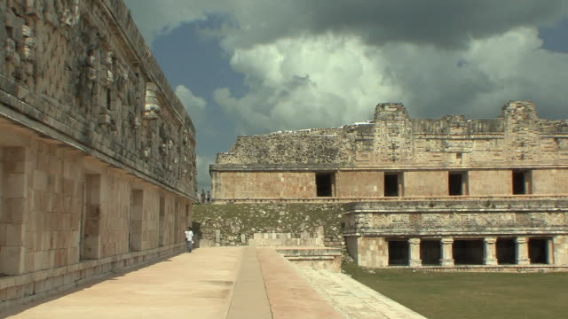 ws nunnery quadrangle at pre-columbian ruined city of maya civilization / uxmal, yucatan, mexico - pre columbian stock videos & royalty-free footage