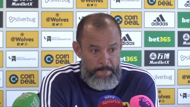 nuno espirito santo press conference ahead of wolves' premier league match against chelsea the wolves boss discussed defender willy boly's suspension... - international match stock videos & royalty-free footage