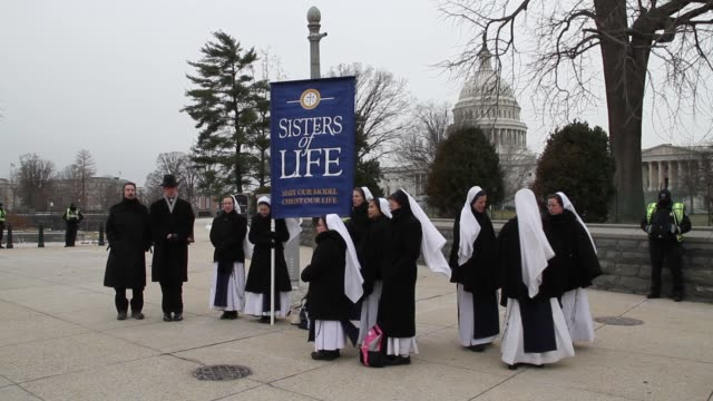 Nuns and Priests Pray for an End to Abortion at March for Life on the National Mall on January 25 2013 in Washington DC