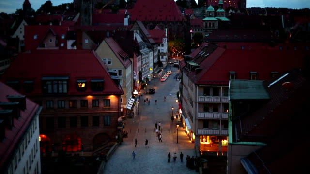 nuremberg at night, camera pan - nuremberg stock videos & royalty-free footage
