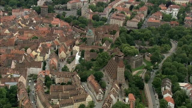 nuremberg castle  - aerial view - bavaria,  middle franconia,  nuremberg helicopter filming,  aerial video,  cineflex,  establishing shot,  germany - nuremberg stock videos & royalty-free footage