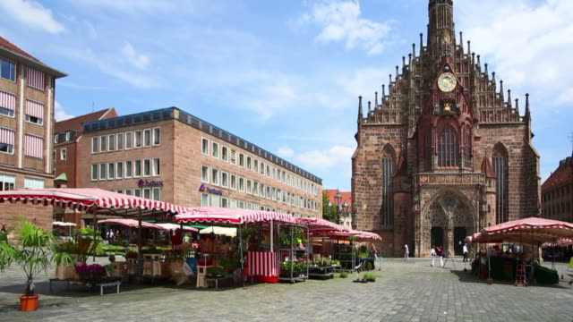 pan nuremberg main market square and our lady's church - nuremberg stock videos & royalty-free footage
