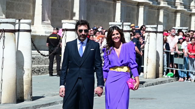 stockvideo's en b-roll-footage met nuria roca and husband juan del val attend the wedding of real madrid football player sergio ramos and tv presenter pilar rubio at seville's... - roca