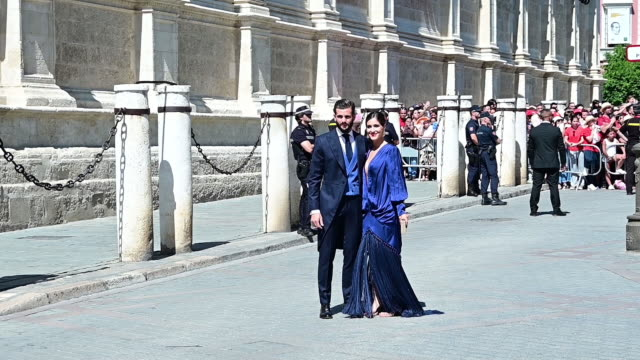 stockvideo's en b-roll-footage met nuria roca attends the wedding of real madrid football player sergio ramos and tv presenter pilar rubio at seville's cathedral on june 15, 2019 in... - roca